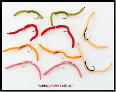 Trout Flies Fishing WORM Lures Set20A Fly Fishing in UK