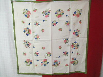 Vintage linen/rayon blend Kitchen Tablecloth printed Flowers