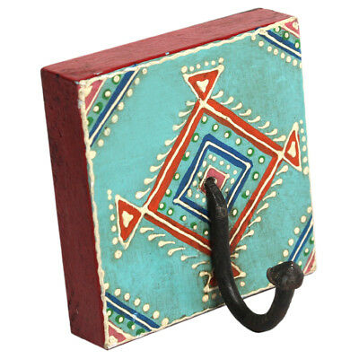 Rajasthani Art Work Multicolor Hand Painted Coat Hook With Emboss design