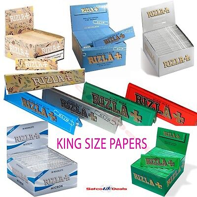 KING SIZE RIZLA  BLUE RED SILVER GREEN PINK NATURAL Hemp Original Rolling Paper