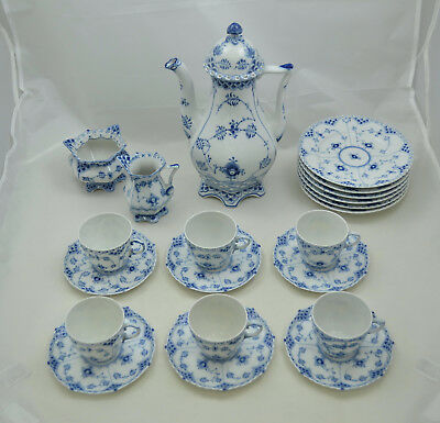 Royal Copenhagen Vollspitze - Blue fluted full lace - Kaffeeservice 6 pers.