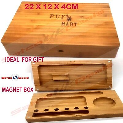MAGNETIC Wooden Cigarette Box Tobacco Smoking Rolling Grassleaf Roll  XMAS GIFT