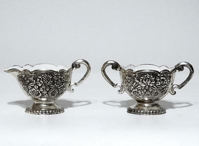 Ornate Silverplate Floral Creamer and Handled Sugar Bowl
