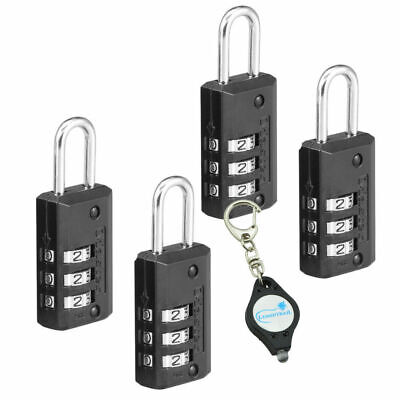 Master Lock 646T 20mm Wide Set Your Own Combination Lock -4 Pk + Keychain Light