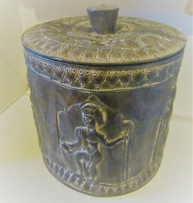 Rare Ancient Persian Silver Canister Depicting Scenes Inside & Out