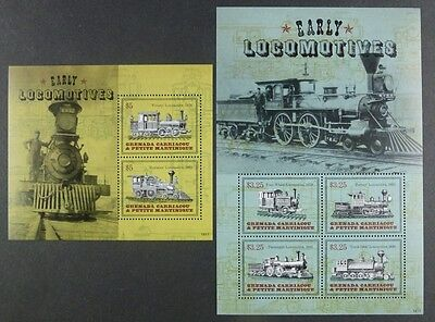 Grenada Grenadinen 2014 Eisenbahn Trains Railways Steam Locomotives ** MNH