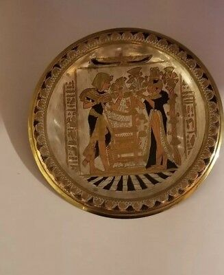 """Egyptian Brass Decorative Plate Gold and Silver Tone 5.5"""" Diameter"""