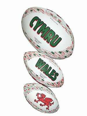 WELSH RUGBY BALL (Wales, Mini, Midi, Size 4, Size 5, Large, Dragon, Gift, Flag)