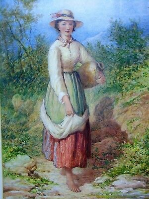 """Mid 19th Century Watercolour """"The Water Collector"""" Henry E. Hobson"""