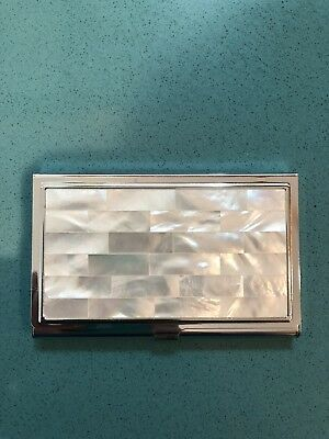 Mother Of Pearl / Silver Metal Business Card Holder Case