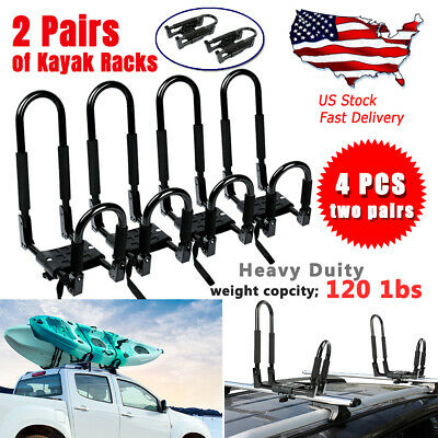 2 Pair Canoe Boat Kayak Roof Rack Car SUV Truck Top Mount Carrier  Cross Bar USA