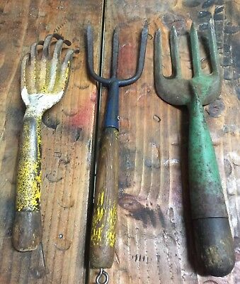 Lot of 3 vintage garden hand tools. Claw, Fork Cultivators