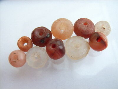 10 Ancient Neolithic Carnelian, Rock Crystal, Quartz Beads, Stone Age, VERY RARE