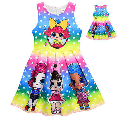 Lol Surprise Dolls Game Kids Girls Princess Dress Colorful Pleated Party Dresses