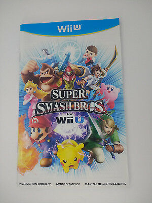 VERY GOOD MANUAL FOR Super Smash Bros. (Nintendo Wii U, 2014) Manual Only!