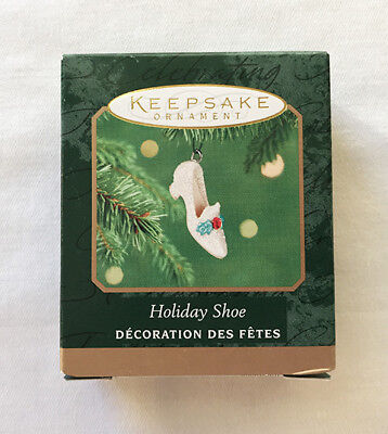 2001 Hallmark HOLIDAY SHOE Miniature Ornament ~ Sparkly with Red Rhinestone