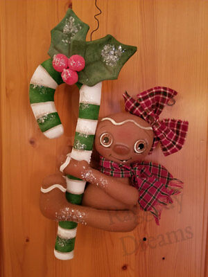 Handmade Large Primitive Gingerbread Girl - Candy Cane - Christmas Ornament