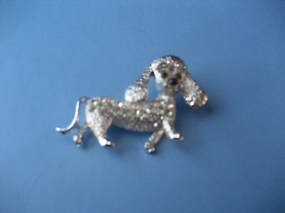 Vintage Silver Tone & Colored Glass Stones Poodle Dog/puppy Shaped Brooch/pin