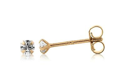 14k Yellow Gold Martini Created Diamond Stud Earrings 0.10CT / 2mm