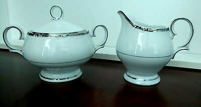 CREAMER & SUGAR BOWL SET Fashion Royale Fine China Platinum Trim Empress EXLT