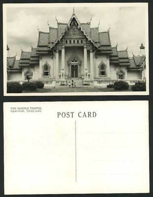 Thailand Siam Bangkok Marble Temple Statues Siamese Girl Old Real Photo Postcard