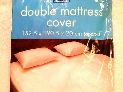 WATERPROOF Double MATTRESS Fitted White PROTECTOR COVER VINYL MATRESS Wetting DB