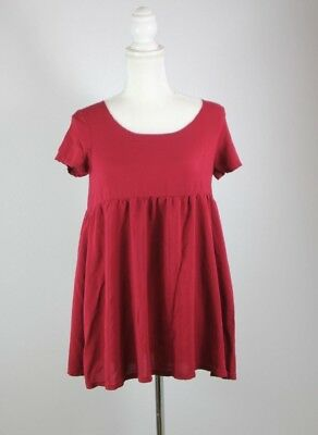 American Apparel Women's XS/S Red Short Sleeve Mini Babydoll Dress Holiday Party