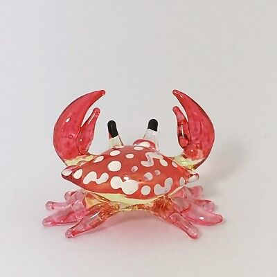 Tiny Crab Figurine Miniature Animal Hand Blown Glass Red Hand Painted