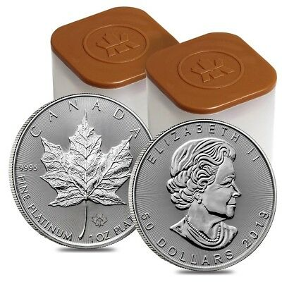 Lot of 20 - 2019 1 oz Platinum Canadian Maple Leaf $50 Coin .9995 Fine BU (2