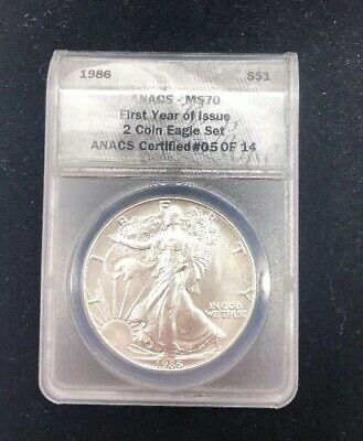 1986 American Silver Eagle Ms70 $1 Ase Anacs Ms 70 Certified #05 Of 14 Made Only
