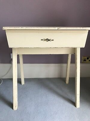 Vintage old School Desk with Lid, Storage Space & Inkwell, painted cream.