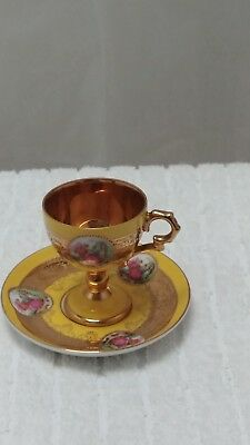 Antique Royal Vienna Demitasse Yellow Footed Cup And Saucer Mark 1620 Japan