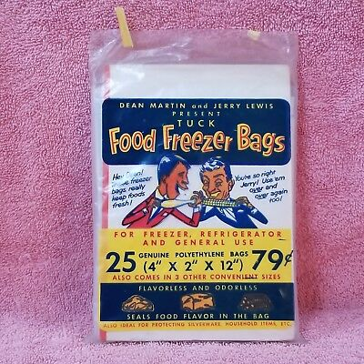Vintage - DEAN MARTIN & JERRY LEWIS - TUCK Food Freezer Bags - 24 in pack 4x12x2