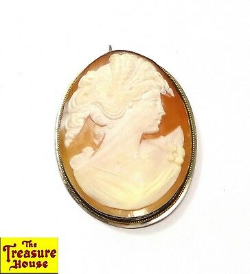 Antique Victorian Carved Shell Cameo Woman Portrait Sterling Silver Pin Pendant