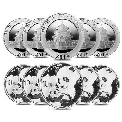 Lot of 10 - 2019 30 gram Chinese Silver Panda 10 Yuan .999 Fine BU