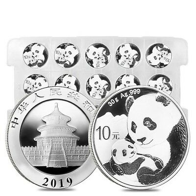 Sheet of 15 - 2019 30 gram Chinese Silver Panda 10 Yuan .999 Fine BU (Lot,Roll