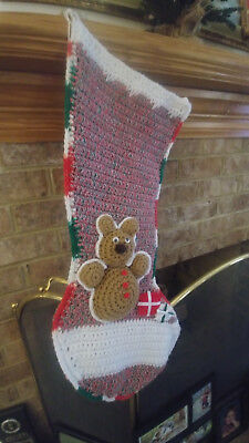 """HAND CROCHETED XMAS STOCKING Red/Wht/Grn 28"""" Long and 8"""" wide"""