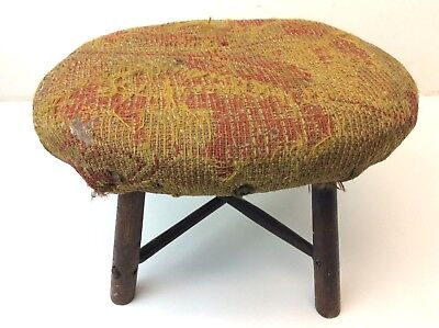 Antique Primitive Pegged Wood Homemade Cloth Top Folk Footstool Stool Ottoman