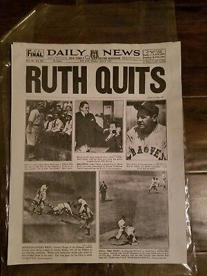 1935 newspaper Boston Braves BABE RUTH QUITS playing MAJOR LEAGUE BASEBALL