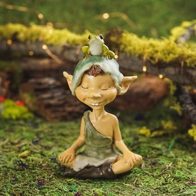 Miniature Fairy Garden Pixie Meditating w/ Frog - Buy 3 Save $5