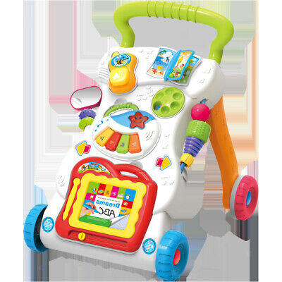 Adjustable Sit-to-Stand First Steps Car Baby Walker Early Education Toy Gift