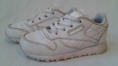 6db66f9fc55762 EUC REEBOK CLASSIC Size 8C white Peek N Fit Infant Baby Lace Up Leather  Sneakers