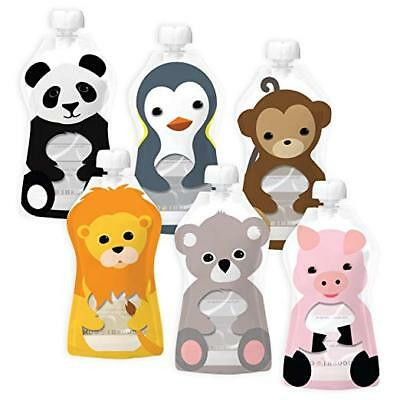 Squooshi Reusable Baby Food Pouch Animal 6 Large Pouches BPA Free Cap & Ziplock