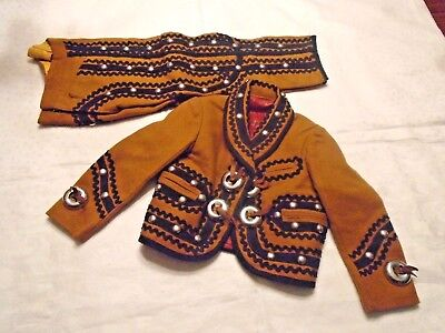 Vintage Childs Charro Outfit - 2 Pc - Small - Mustard Yellow / Black