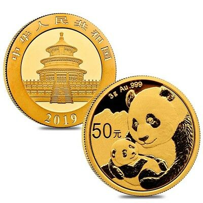 Lot of 2 - 2019 3 Gram Chinese Gold Panda 50 Yuan .999 Fine BU (Sealed)