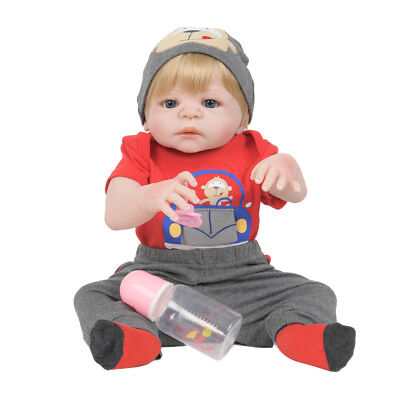 """Real Touch 22"""" Reborn Baby Boy Doll Newborn Toddler with Pacifier and Bottle"""