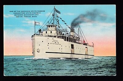 vintage City of Cheboygan ferry Mackinaw City to St.Ignace Michigan postcard
