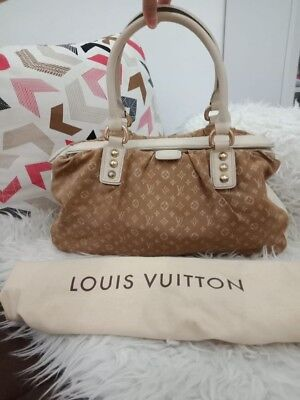 LOUIS VUITTON BROWN Mini Lin Trapeze GM Canvas Leather Tote Bag ... 681481725886b