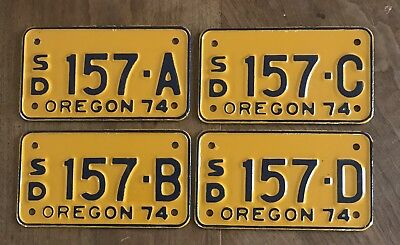 1974 Snowmobile Dealer License plate group of 4. #157 A, B, C, D