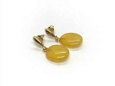 Real NATURAL BALTIC AMBER egg yolk stone beads earrings gold plated silver #2641